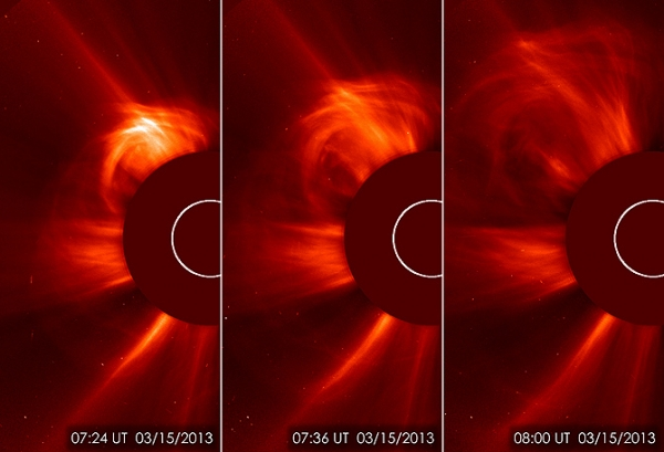 Images of the sun spitting out a coronal mass ejection (CME) on March 15, 2013. This type of image is known as a coronagraph, since a disk is placed over the sun to better see the dimmer atmosphere around it, called the corona. (Photo: ESA&NASA/SOHO)
